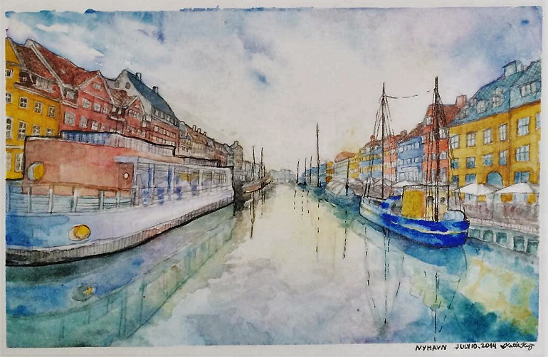 a watercolour painting of Nyhavn in Copenhagen