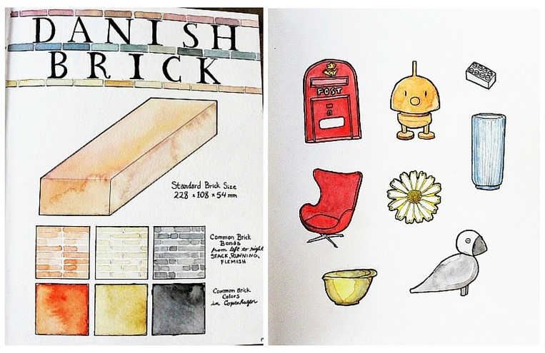 watercolour sketches of iconic Danish designs