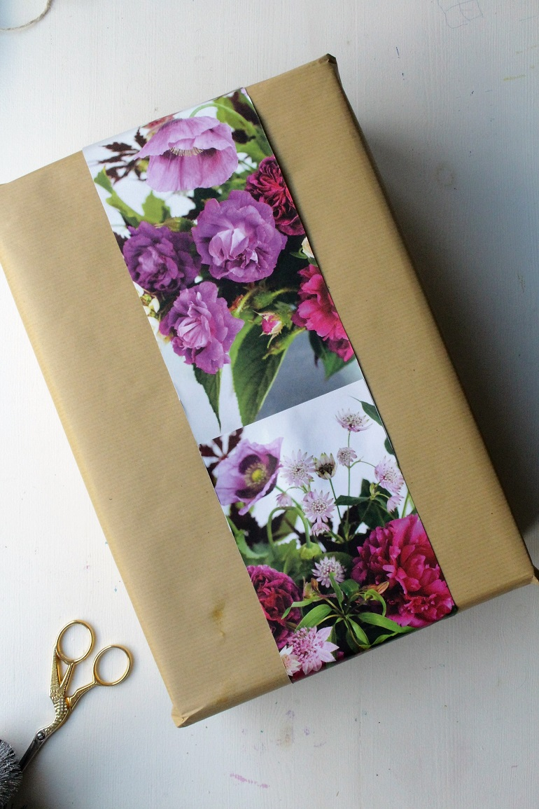 5 gift wrapping ideas with brown paper use floral prints to add a pop of colour to brown paper packages mightylinksfo